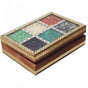 Wooden stone jewellery box