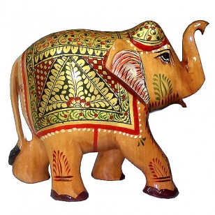 Wooden Painted Elephant 5""