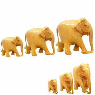 Wooden Elephant Set of 3pc