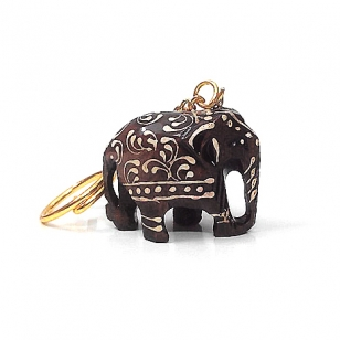 Wooden Embossed Elephant Keychain