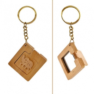 Wooden Mirror Keychain -Pack of 12pc