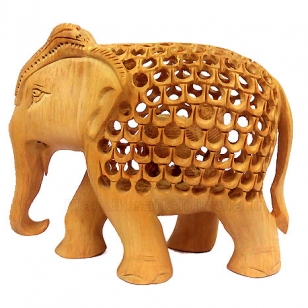 "Wooden Jali Elephant 4"" inch"