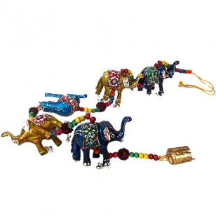 Elephant & Rudraksha Door Hanging - Pack of 2pc
