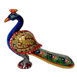 Wooden Painted Peacock 4 inch