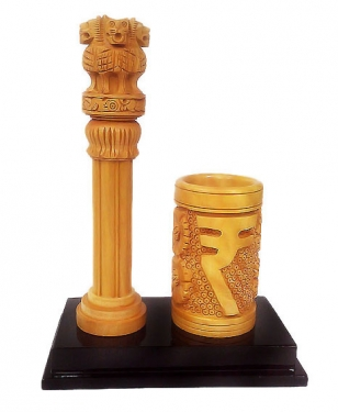 Wooden 8 inch Ashoka pillar & Pen holder