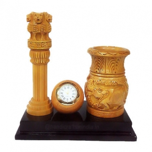 Wooden Ashoka Pillar with Clock & Pen Stand
