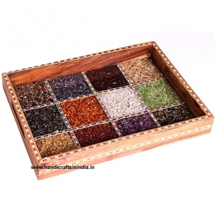 Wooden Tray with Colourful Gemstones 12x9