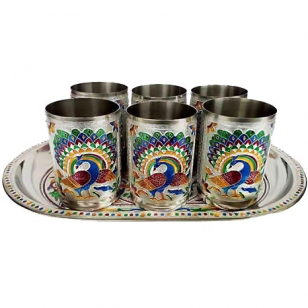 Tray set with 6 meenakari glasses