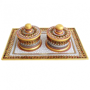 Marble Container & Tray Set