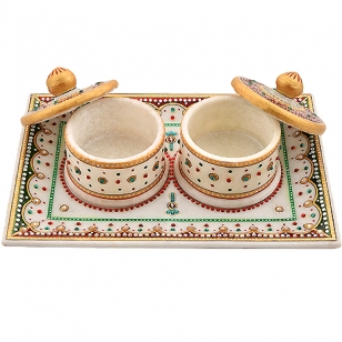 Marble Painted Mouth freshener Tray Set