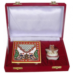 Marble Chowki Ganesh with Velvet Box Packing