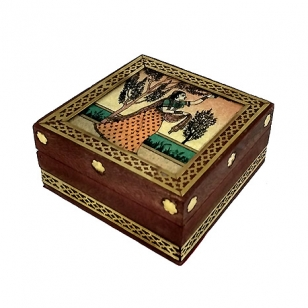 Wooden Brass Work Jewellery Box 3 x 3 inch