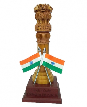 Wooden Ashok Stambh with 2 Flag