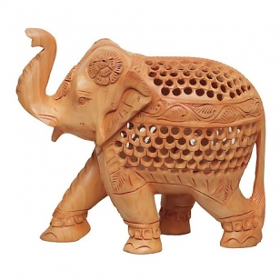 White Wood Undercut T/U Elephant (13cm Height)