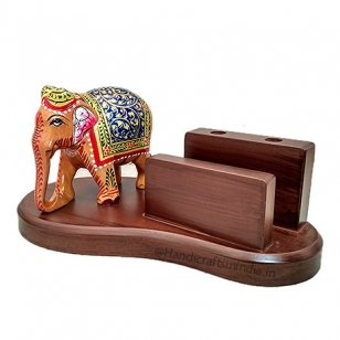 Wooden Mobile & Pen Holder with Painted Elephant