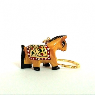 Wooden Painted Horse Key Chain - Pack of 12pc