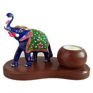 Wooden T-Light Holder with Meenakari Elephant