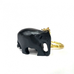 Wooden Carved Black Elephant Keychain - Pack of 12pc