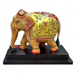 Wooden Embossed Painted Elephant on Base