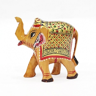 Wooden Painted Trunk up Elephant 2.5 inch (Pack of 2pc)