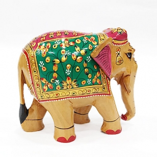 Wooden Embossed Painted Elephant 10 cm
