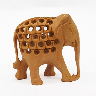 Wooden Jali Pattern Elephant Statue - Pack of 2pc