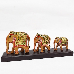 Wooden Painted Elephant on Base (Set of3pc)