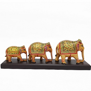 Wooden Painted Elephant on Base (Set of 3pc)