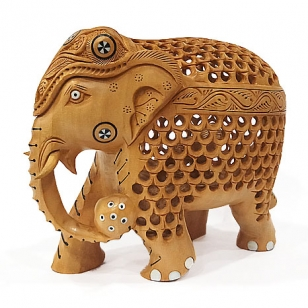 Beautiful Wood Carving Elephant