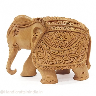 Wooden Trunk down Elephant Statue