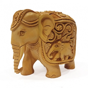 Wood Elephant Statue with Shikar Work