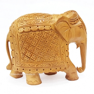 Wooden Carved Trunk down Elephant
