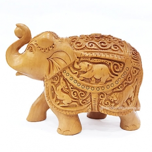 Wooden Carved Salute Elephant