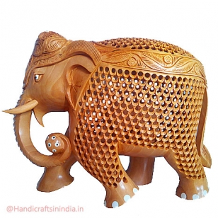 Wooden Jali Design Elephant 8 inch