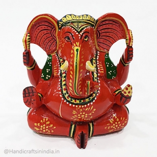 Wooden Painted Appu Ganesh Statue