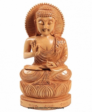 Wooden Lotus Carved Buddha 10 inch