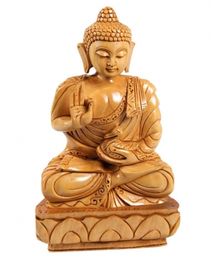 Home Decor Wooden Buddha 10""