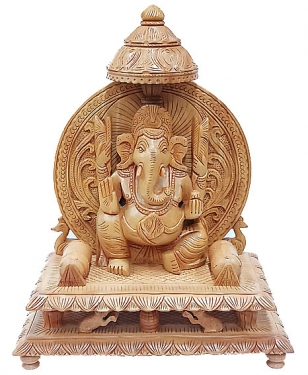 Wood Carving Chhatri Ganesh
