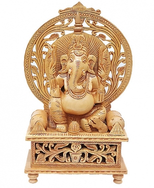 Artistically Handmade Wooden Ganesh