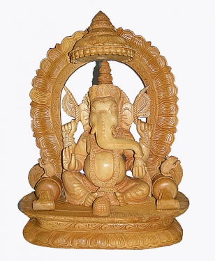 Wood Carving Ganesh Statue