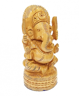 Wooden Carved Round Ganesh 5 inch