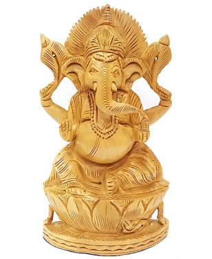 White Wood Ganesha 6 inch