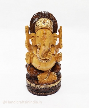 Wooden Round Ganesh with Brown Painting 6 inch