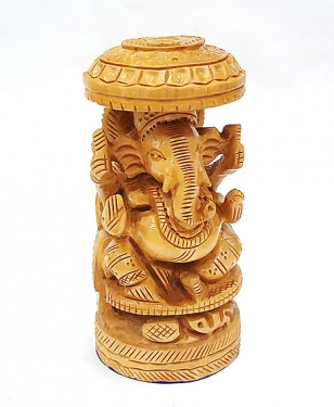 Wooden round Umbrella Ganesh 4 inch