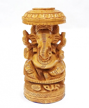 Wooden Umbrella Ganesh 6 inch Height