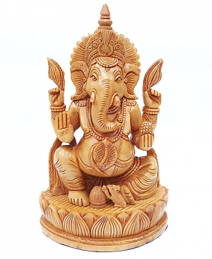Wooden Carved Lotus Ganesha