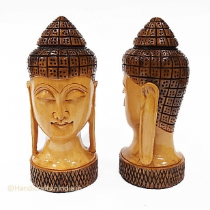 Wooden Painted Buddha Head