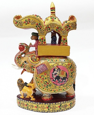 Wooden Ambari Elephant with Painted