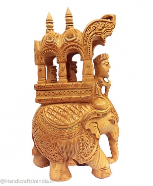 Wooden Elephant with King and Mahavat