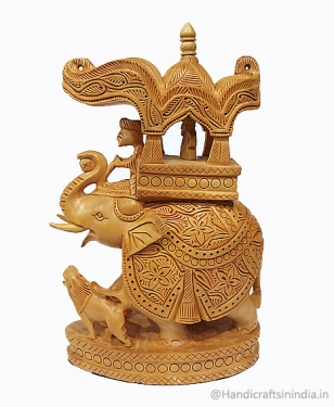 Wooden Carved Trunk up Ambabari Elephant - 23cm Height